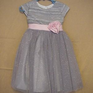 Children's Place Sparkly Silver Dress w/Pink Rose
